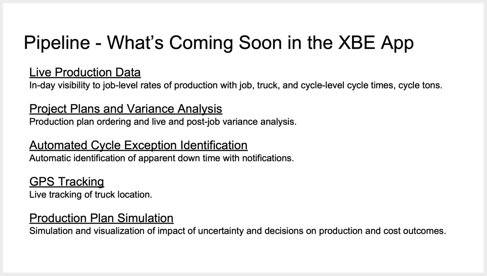 XBE feature pipeline, 2018